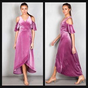 🆕 Lavender Purple Velvet Cold Shoulder Maxi Dress